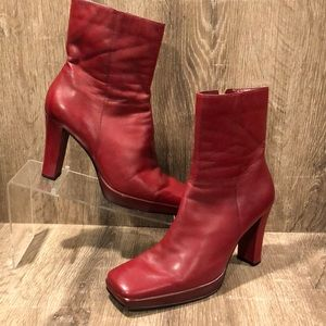 Vintage square toe leather booties